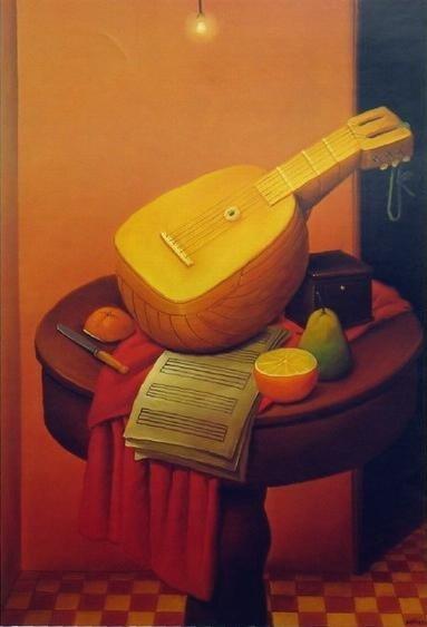 Botero, Still life with mandolin