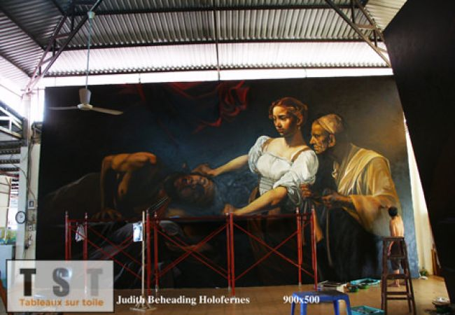Judith décapitant Holopherne du caravage en 5 mètres par 9 mètres reproduit à notre atelier de peinture