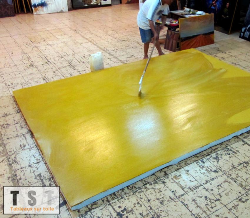 Préparation de la toile avant la reproduction du tableau