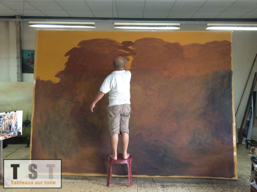 Préparation du fond, dit Gesso, avant travail sur la toile