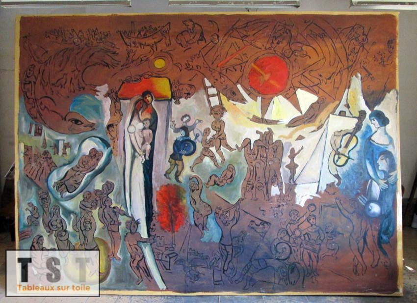 Les premières couches de couleurs sur la toile à reproduire