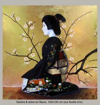 Geisha et arbres en fleur sur feuille d'or - 120 x 120 cm