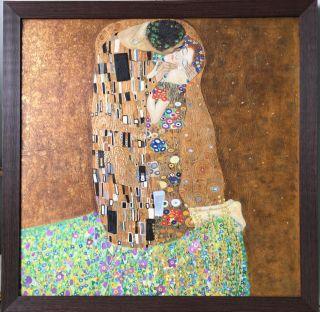 Klimt, Le baiser à la feuille d'or - 80 x 80 cm