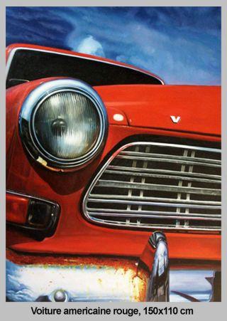 Voiture Américaine rouge - 150 x 110 cm