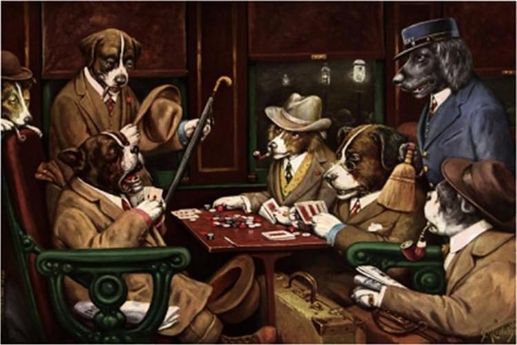 Coolidge Cassius Marcellus Perros Jugando Al Poker Su Mano Y