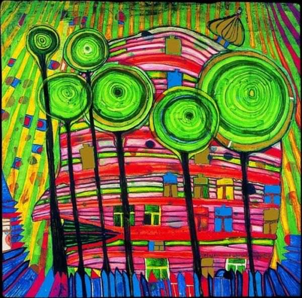 Hundertwasser, Blob grows in beloved gardens