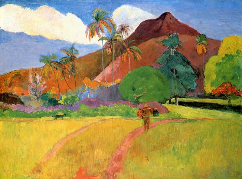 Reproduction Tableau De Gauguin Montagnes A Tahiti