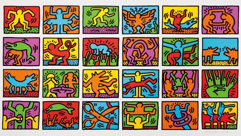 Tableaux sur toile, reproduction de Keith Haring, 24 Keith Haring