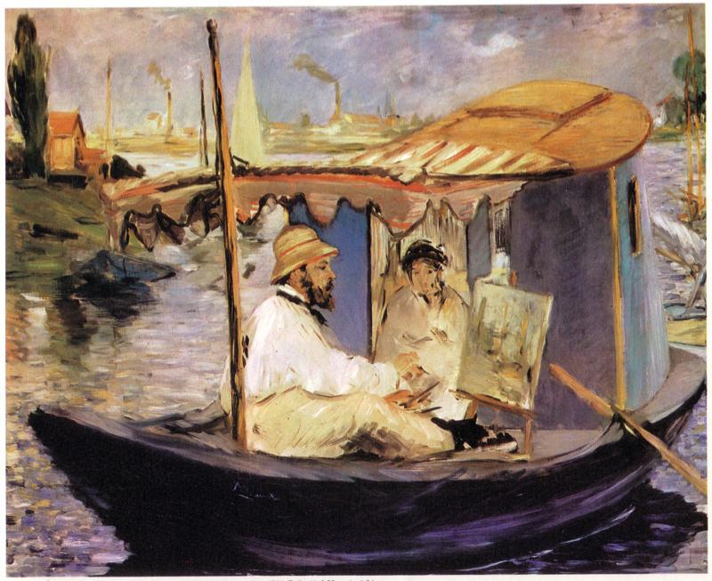 Manet, Claude Monet Dans Son Bateau Atelier