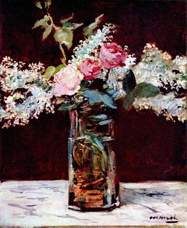 Manet, Nature Morte Avec Lilas Et Roses
