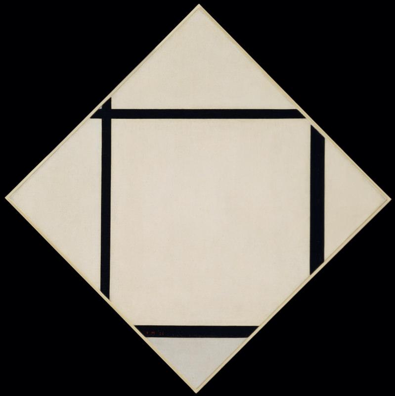 Mondrian, Tableau I - Losange Gris Avec Quatre Lignes
