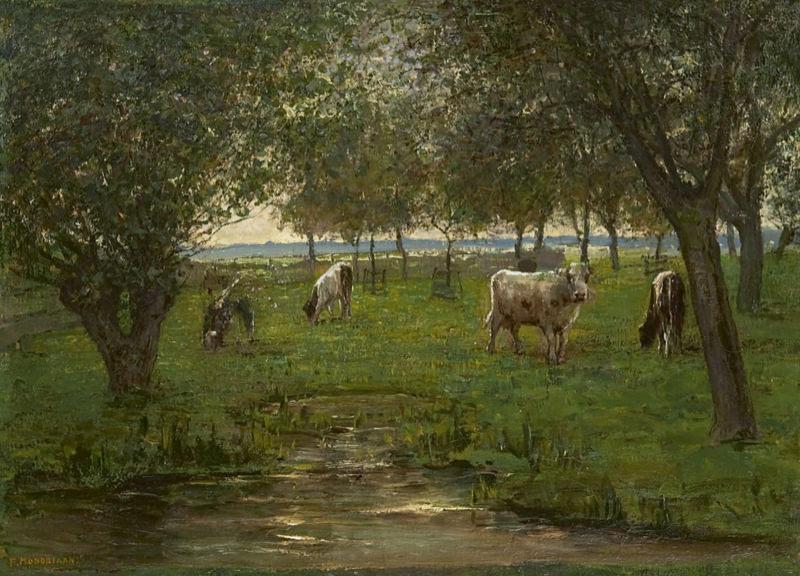 Mondrian, Vaches Dans Un Pré