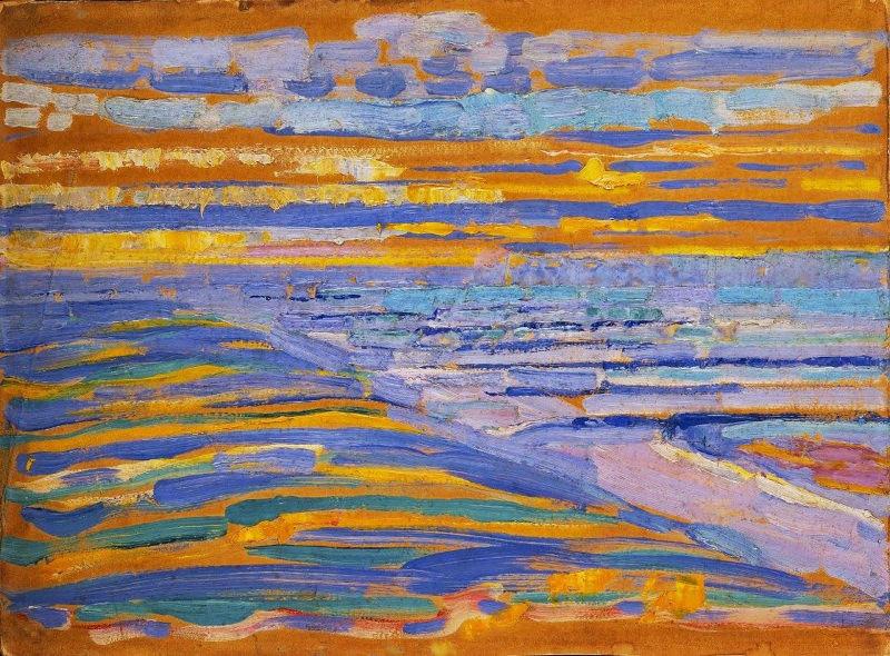 Mondrian, Vue Depuis Les Dunes Avec La Plage Et La Jetée, Domburg