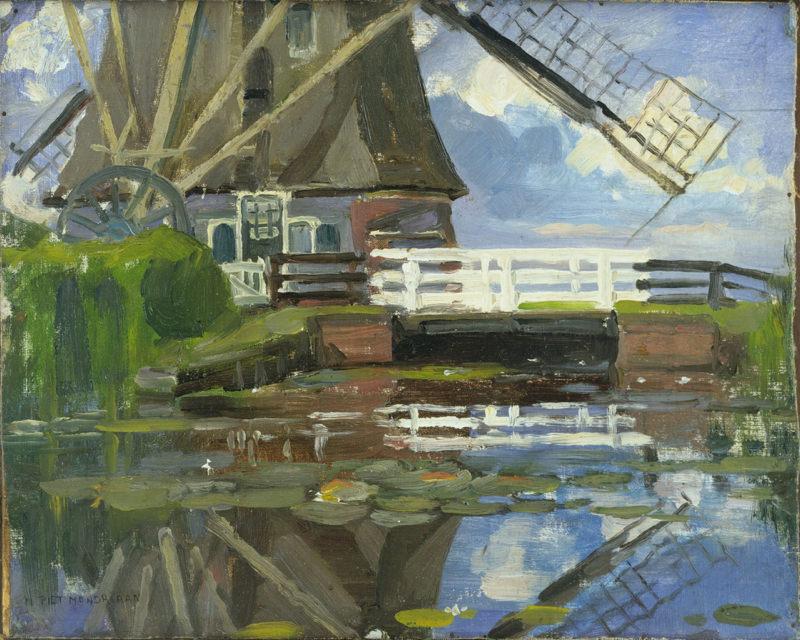 Mondrian, Vue Tronquée Du Moulin De Broekzijder Sur Le Gein, Pales Face à l'Ouest