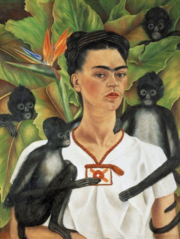 Kahlo, Autoportrait avec des singes