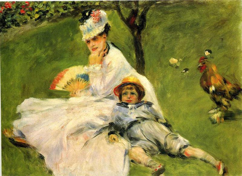 Renoir, Camille Monet et son fils Jean dans le jardin d'Argenteuil
