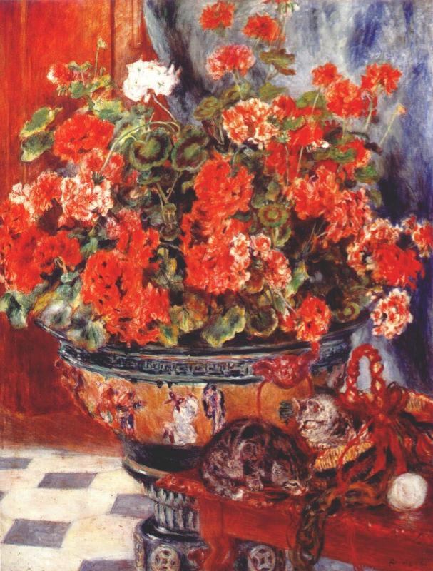 Renoir, Géraniums et chats