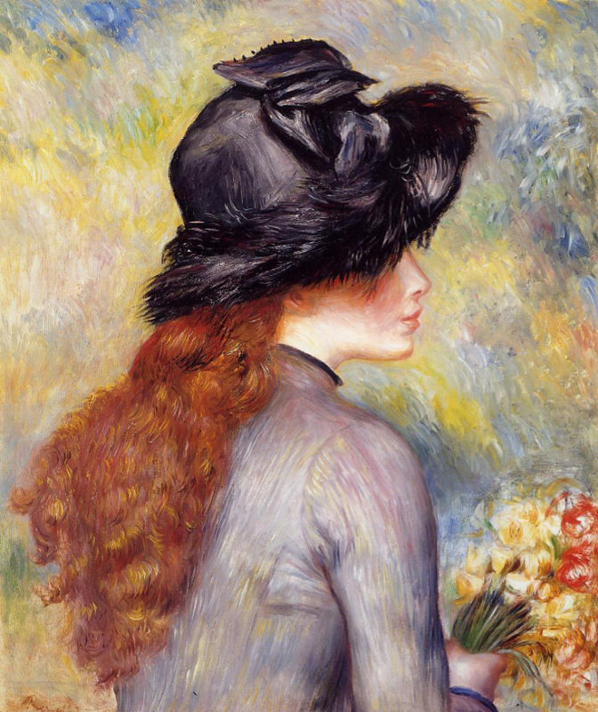 Renoir, Jeune femme tenant un bouquet de tulipes