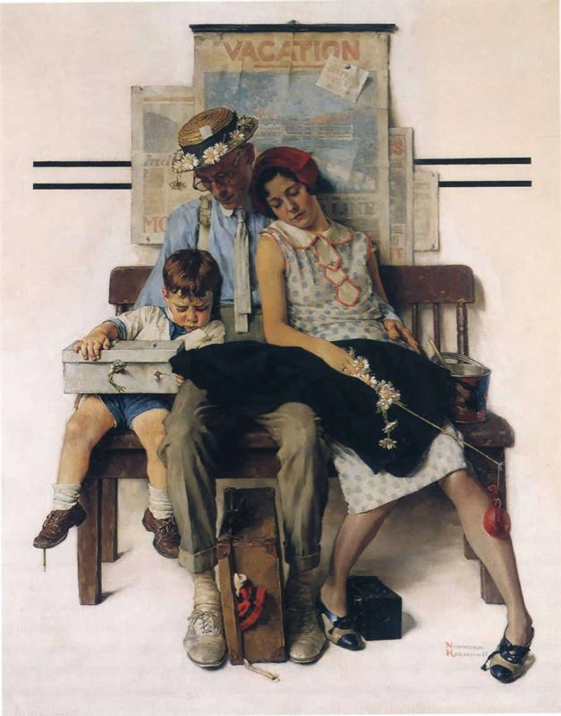 Rockwell, Famille rentrant de vacances - Family home from Vacation