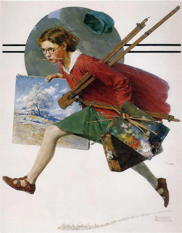 Rockwell, Fille courant avec une toile humide - Girl Running with Wet Canvas