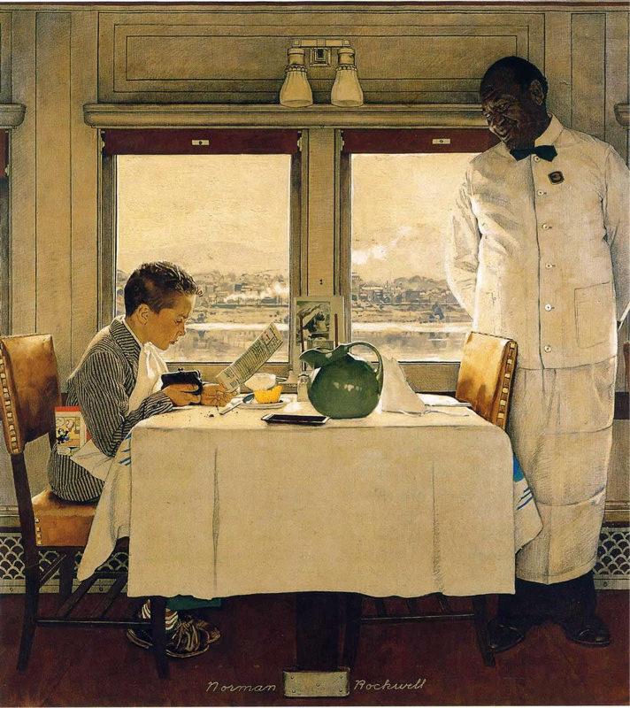 Rockwell, Garçon dans un wagon restaurant - Boy in a Dining Car