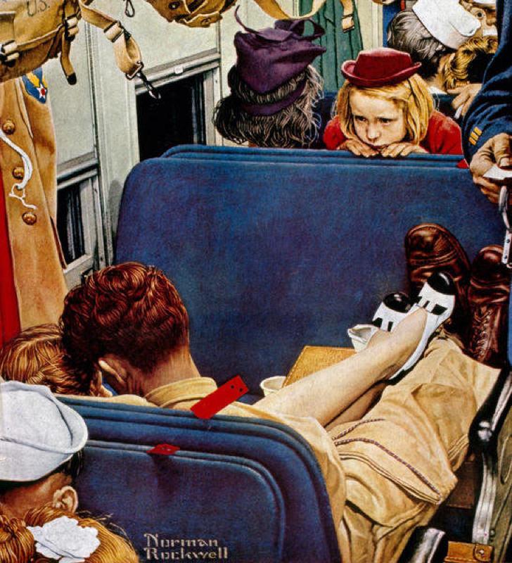Rockwell, Petite fille observant des amoureux dans le train - Little Girl Observing Lovers on a Train