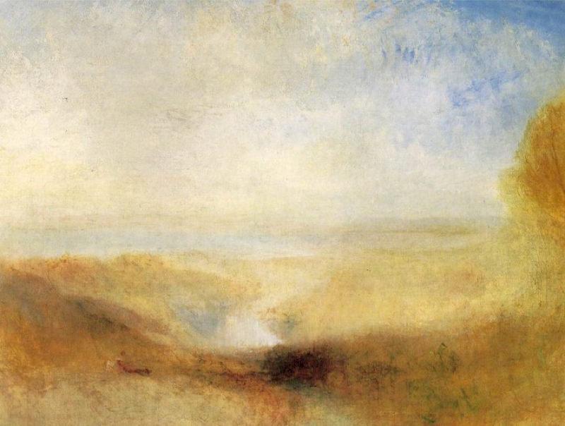Turner, Paysage avec une rivière et une baie en arrière-plan