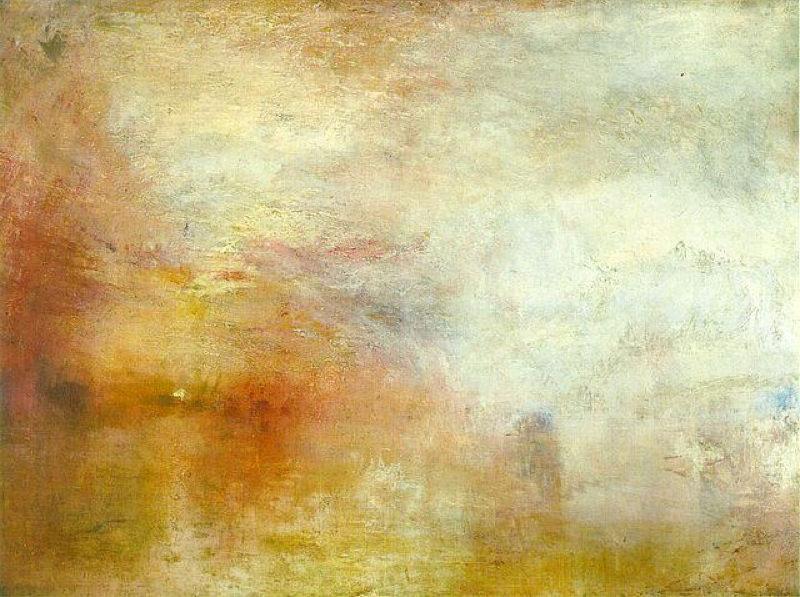 Turner, Soleil couchant sur un lac