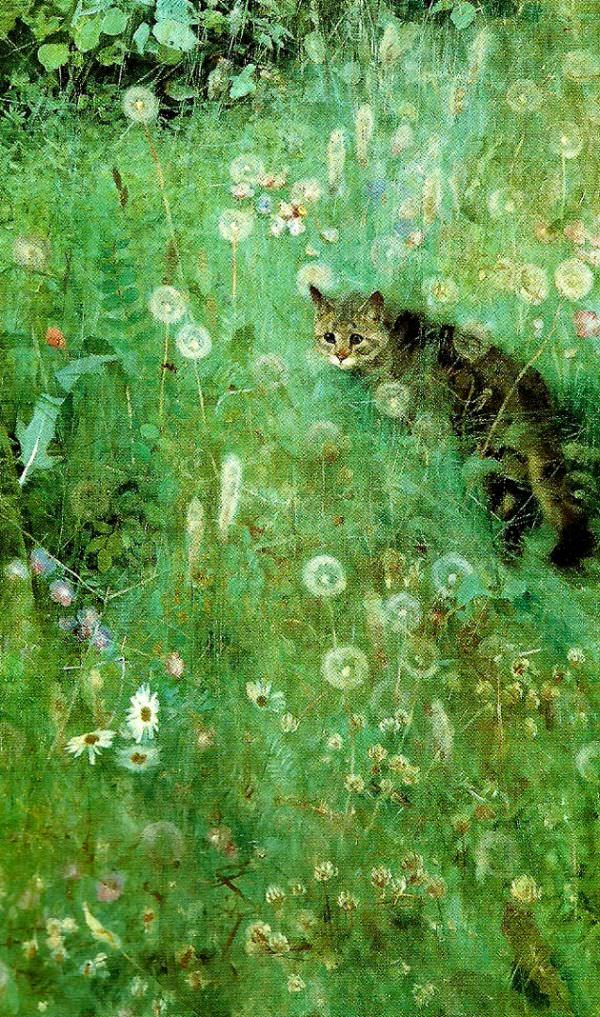 Tableaux sur toile, reproduction de Bruno Liljefors, Cat in the summer meadow