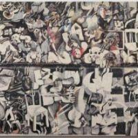 Une tapisserie relatant les massacres de Sabra et Shatila aux cotés du Guernica de Picasso