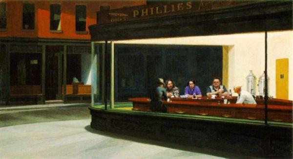Tableaux sur toile, reproduction de Hopper, NIghthawks The Big Lebowsky