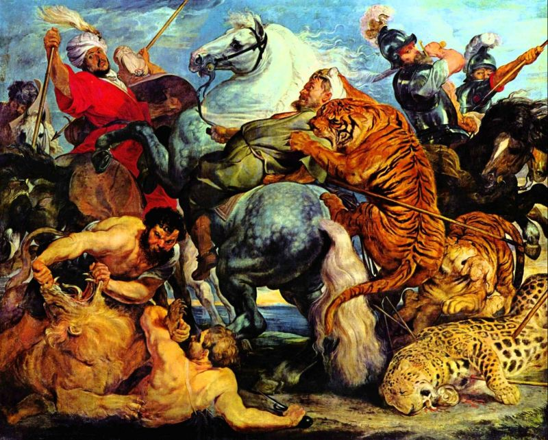 Tableaux sur toile, reproduction de Peter Paul Rubens, Tiger And Lion Hunting