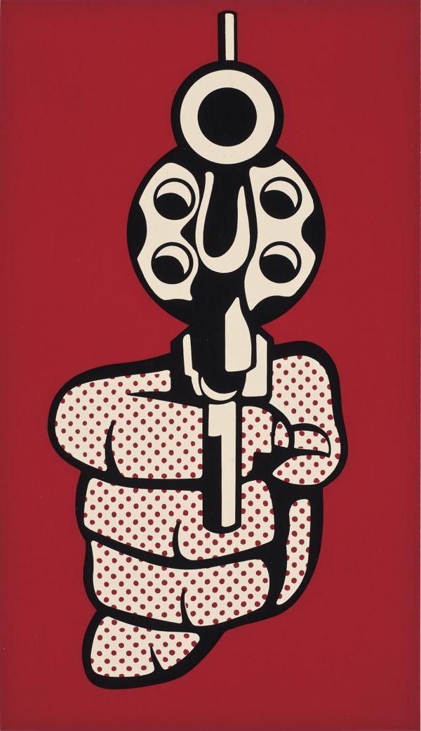 Reproduction de Roy Lichtenstein, Gun (revolver). Tableau peint à la main dans nos ateliers. Peinture à l'huile sur toile.